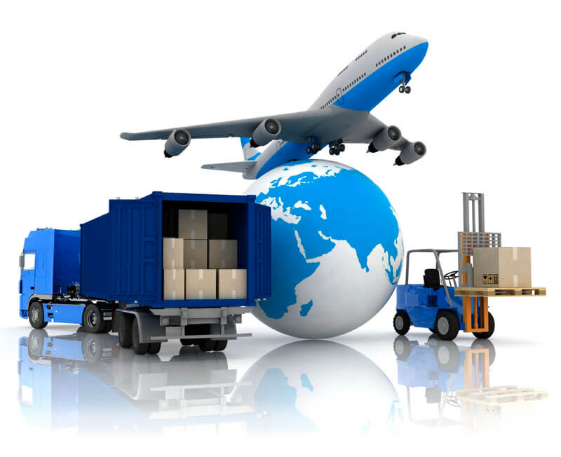 A truck, plane, forklift, and planet